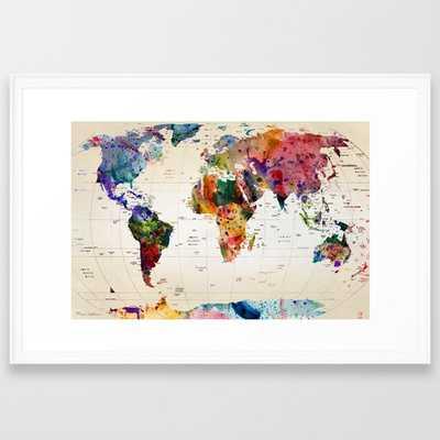 "Map Art - Scoop White - 28"" x 38"" - Society6"