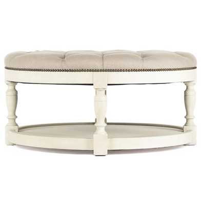 Marseille French Country Cream Ivory Linen Round Tufted Coffee Table Ottoman - Kathy Kuo Home