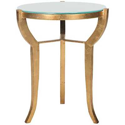 Malonton and White Glass Accent Table gold - Lamps Plus
