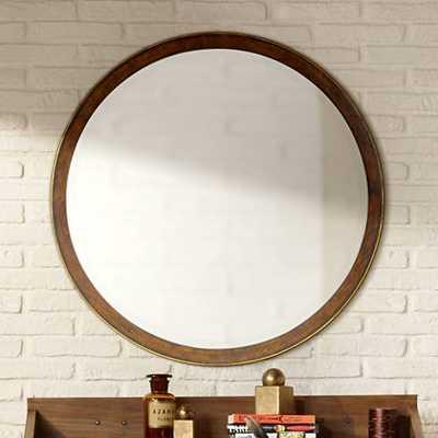 "Cooper Classics Daniel 34"" Round Wood Wall Mirror - Lamps Plus"