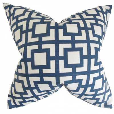 Callas Geometric Pillow Navy, 18x18, Poly Insert - Linen & Seam