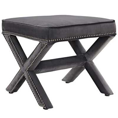RIVET BENCH IN GRAY - Modway Furniture