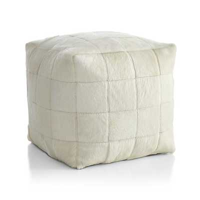 Hair on Hide Ivory Pouf - Crate and Barrel