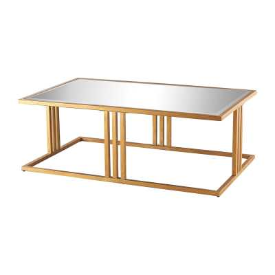 Andy Coffee Table In Gold Leaf And Clear Mirror - Rosen Studio