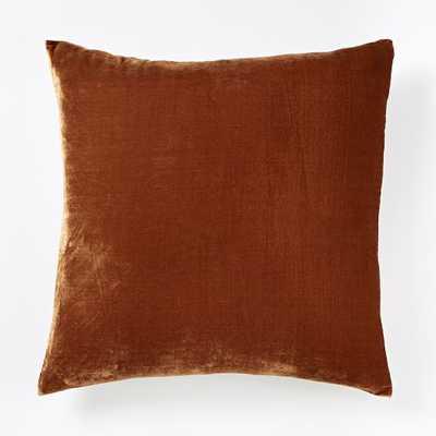 Luxe Velvet Square Pillow Cover - Copper - West Elm