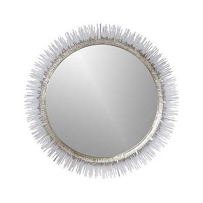 Clarendon Large Round Silver Wall Mirror - Crate and Barrel