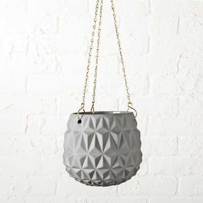 glisan grey hanging planter - CB2