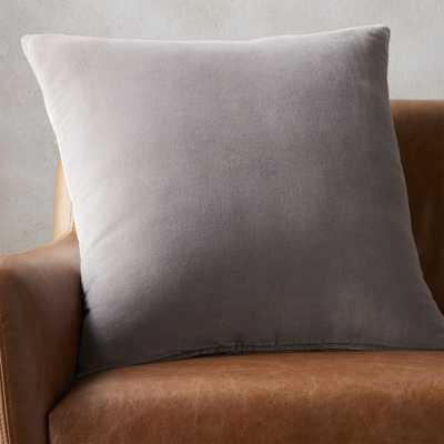 """23"""" leisure grey pillow with feather-down insert"" - CB2"