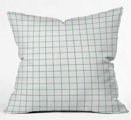 FRENCH LINEN GRID EMERALD Throw Pillow - Wander Print Co.