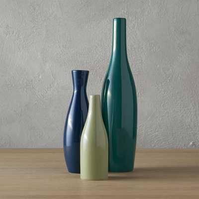 3-piece blue and green scout vase set - CB2