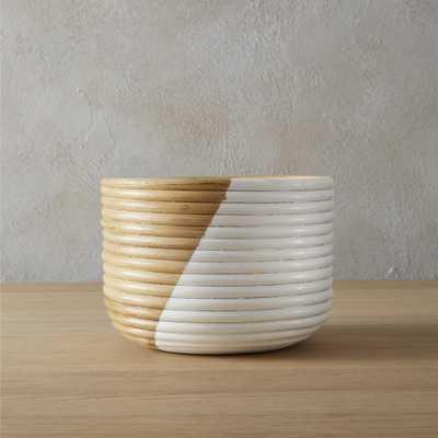 basket small white planter - CB2