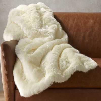 white faux fur throw blanket - CB2
