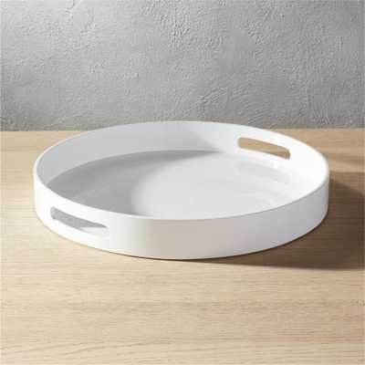 hi-gloss round white tray - CB2