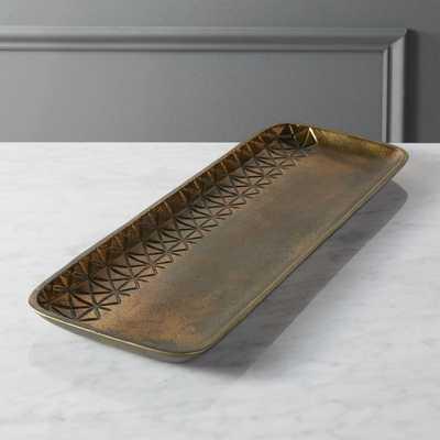 quin burnt brass tray - CB2