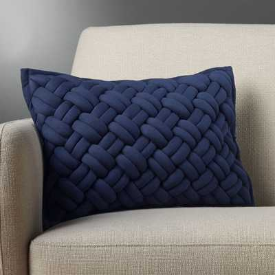 """18""""x12"""" jersey interknit navy pillow with down-alternative insert"" - CB2"