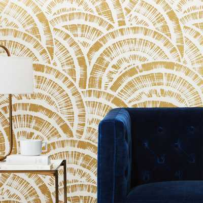 expressionist rounds gold and white wallpaper - CB2