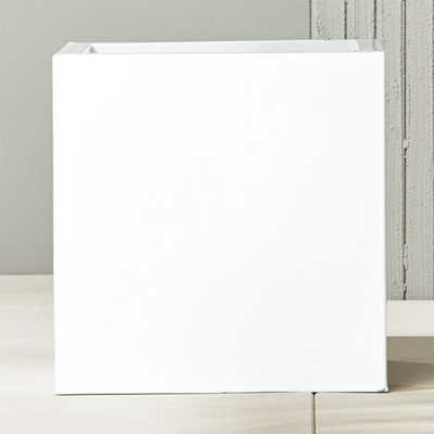 blox large square galvanized hi-gloss white planter - CB2