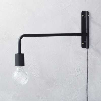 swing arm black wall sconce - CB2