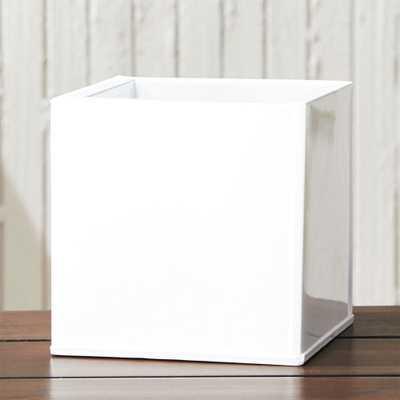 blox small square galvanized hi-gloss white planter - CB2