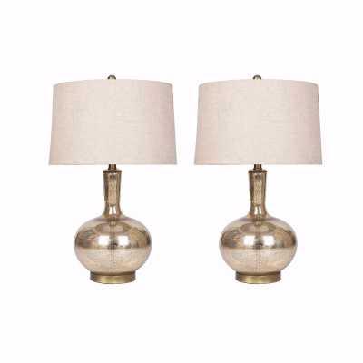 GOLD MERCURY GLASS TABLE LAMP (SET OF 2) - Abbyson Living
