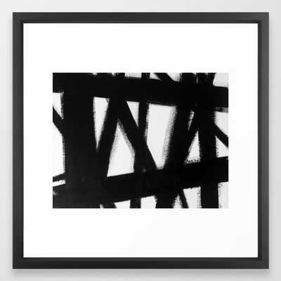 """No. 63 Modern abstract black and white painting - Vector Black Frame - Medium 22"""" x 22"""" - Society6"""