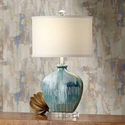 Possini Euro Mia Blue Drip Ceramic Table Lamp - Lamps Plus