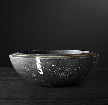VITALI MARBLE AND BRASS BOWL LARGE - RH Modern
