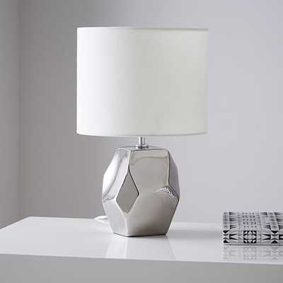 Ceramic Nature Geo Table Lamp - Silver - West Elm