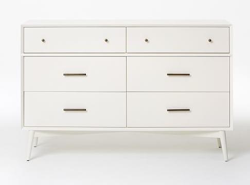 Mid-Century 6-Drawer Dresser - White - West Elm