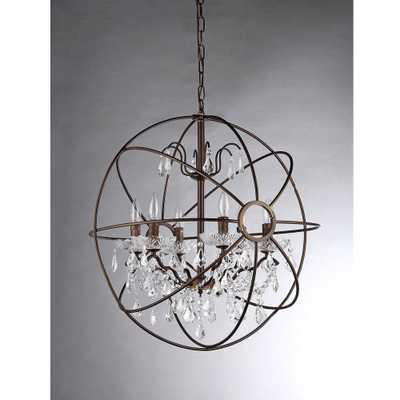 Edwards 6-Light Antique Bronze Sphere Crystal Chandelier - 32'' - Home Depot