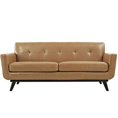ENGAGE BONDED LEATHER LOVESEAT IN TAN - Modway Furniture