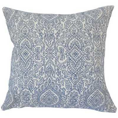 """Hessa Damask Pillow Lapis 18"""" x 18"""", Down Insert - Linen & Seam"""