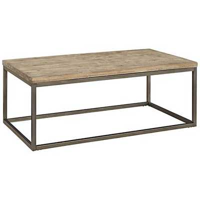 Alana Steel and Acacia Wood Top Rectangular Coffee Table - Lamps Plus