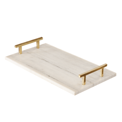 LINCOLN TRAY, WHITE/BRASS - Worlds Away