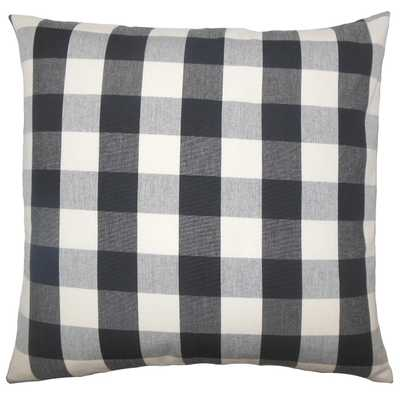 Nelson Plaid Sham Black White - Down Insert - Linen & Seam