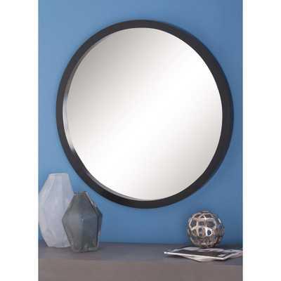 Modern Round Framed Wall Mirror in Black - Home Depot