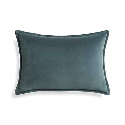 """Brenner Slate 18""""x12"""" Velvet Pillow with Feather-Down Insert - Crate and Barrel"""
