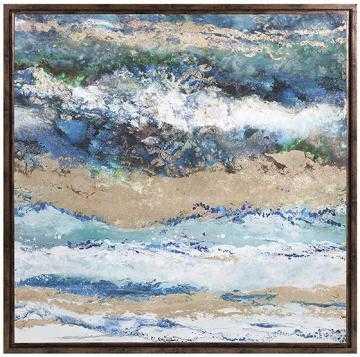 Seaside Waves Framed Canvas - Mercer Collection