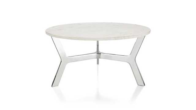 Elke Round Marble Coffee Table with Polished Aluminum Base - Crate and Barrel