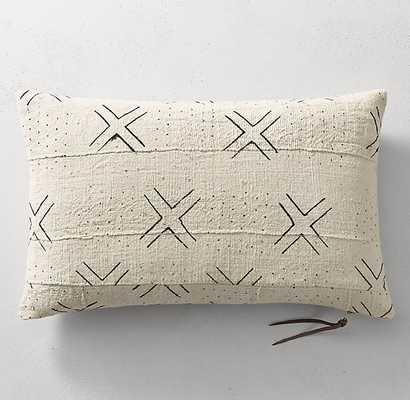 "Handwoven African Mud Cloth X DOT Pillow Cover - Natural - 13"" x 21"" - No Insert - RH"