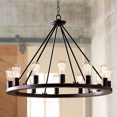 """Lacey 30"""" Wide Round Black Chandelier - Lamps Plus"""