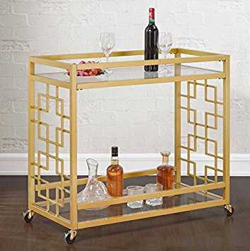 Retro Gold Tone Bar Cart Metal Serving Tray Table Coffee 2-Shelf Glass Kitchen Sofa Side Hall Entry - Amazon