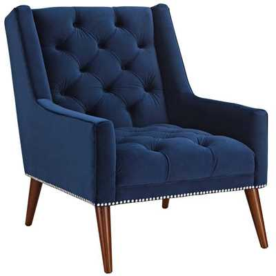 PERUSE VELVET ARMCHAIR IN NAVY - Modway Furniture