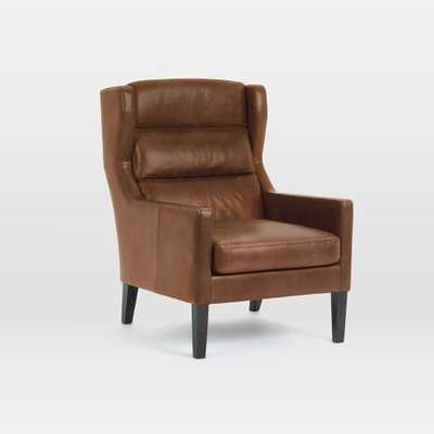 Clarke Leather Wing Chair - Cigar - West Elm