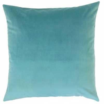 "Nizar Solid Pillow Turquoise- 18"" x 18""-  down insert - Linen & Seam"