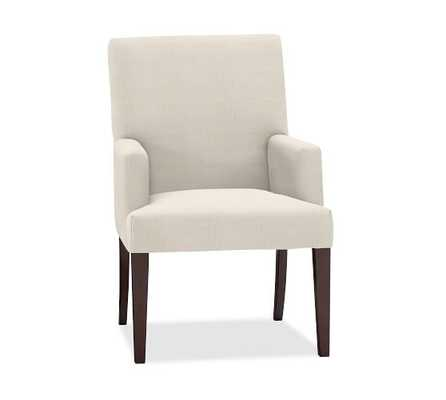 PB COMFORT SQUARE ARM UPHOLSTERED DINING SIDE CHAIR, SUNBRELLA® PERFORMANCE SAHARA WEAVE IVORY - Pottery Barn