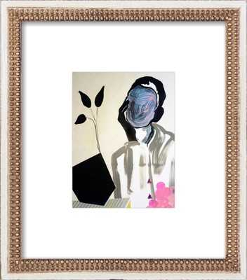 """When Twigs Catch - 14x16"""" - Distressed Cream Double Bead Wood Frame with Matte - Artfully Walls"""