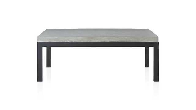 Parsons Concrete Top/ Dark Steel Base 48x28 Small Rectangular Coffee Table - Crate and Barrel