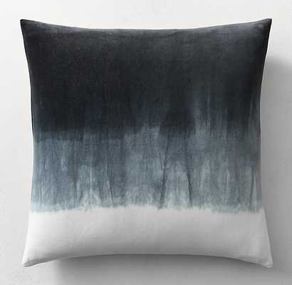 "HAND-DYED SHIBORI VELVET OMBRA Black PILLOW COVER - 26"" sq. - No Insert - RH"