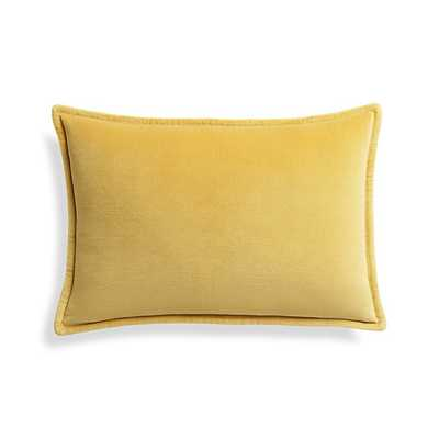 """Brenner Spicy Mustard 18""""x12"""" Velvet Pillow with Feather-Down Insert - Crate and Barrel"""